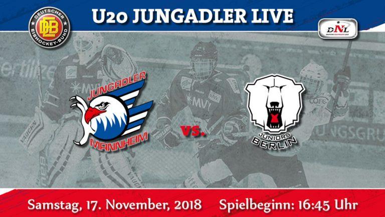 U20- Jungadler noch ungeschlagen. Jetzt kommen die Eisbären Juniors Berlin nach Mannheim.