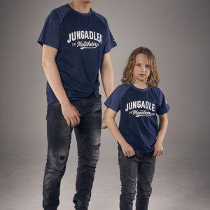 T-Shirt blau und grau