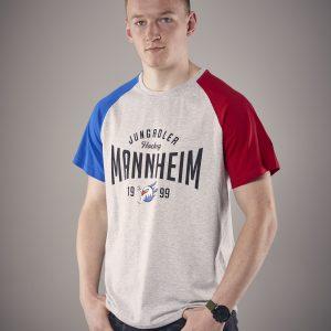 T-Shirt blau grau rot